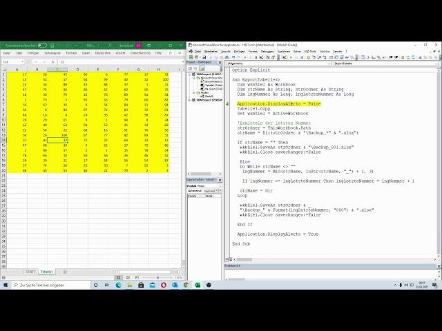 222: Excel-VBA: Bei Änderung in einer Tabelle eine Sicherung erstellen mit fortlaufender Nummer