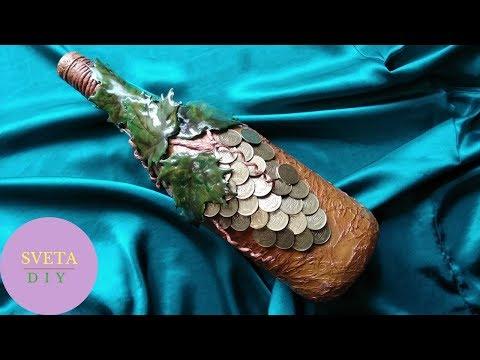 DIY Декор бутылок своими руками/Мастер класс/Декупаж/Декорирование украшение бутылок