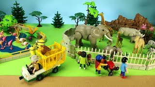 School Bus Ride Trip to the Playmobil Zoo Wild Animals Toys For Kids - Learn Animal Names!
