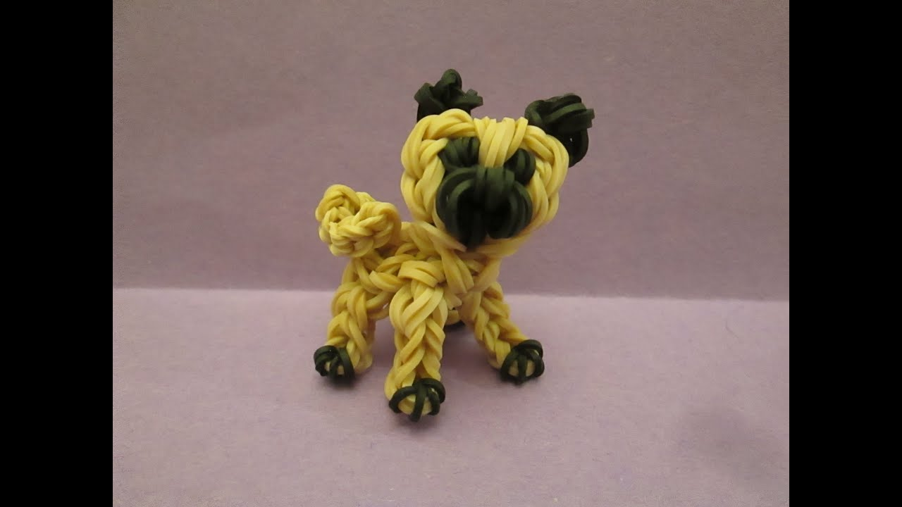 Rainbow Loom Pug Dog Or Puppy Charm 3 D Youtube