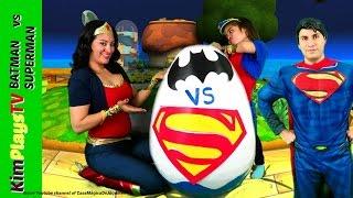 giant egg surprise opening batman vs superman toys kids video surprise toys awesome toys