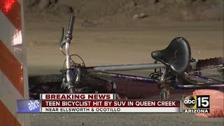 Bicyclist hit by car in Queen Creek