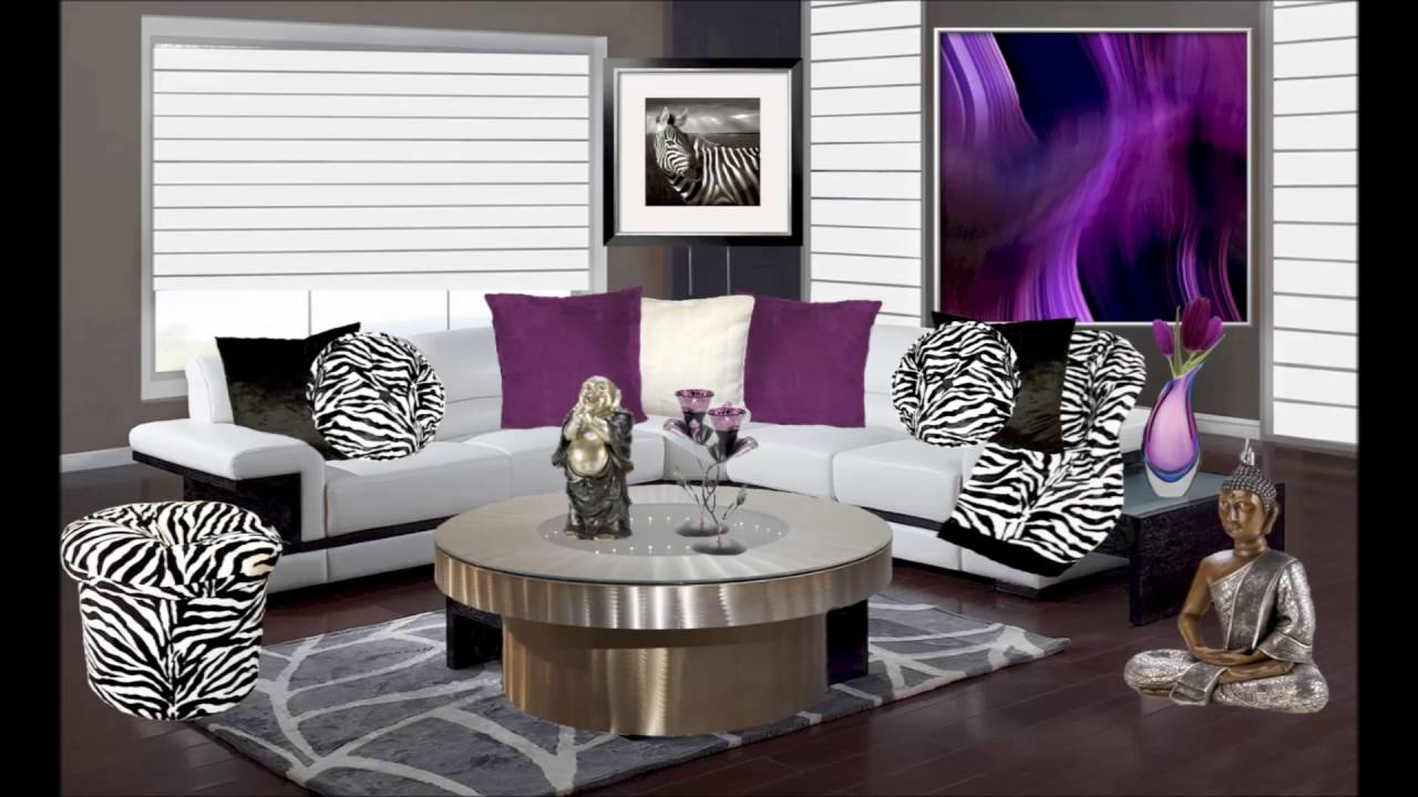 Living Room Zebra Print purple and animal print living room decor - youtube