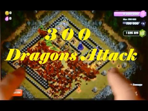 Clash of Clans - 300 Dragons attack | 300 Lava hounds attack | 300 Lightning spells attack