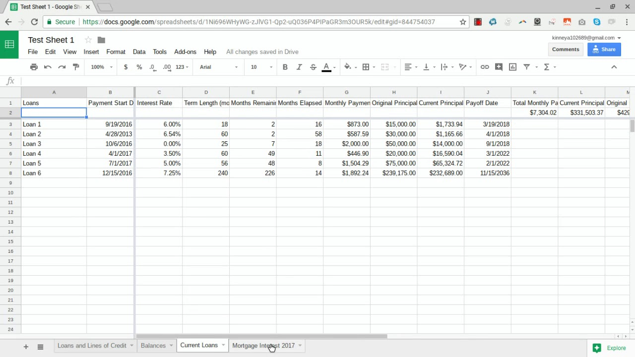 Automating Loans and Lines of Credit using Tiller HQ and Google Sheets