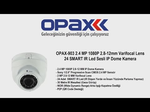 OPAX-903 2.4 MP 1080P 2.8-12mm Varifocal Lens 24 SMART IR Led Sesli IP Dome Kamera