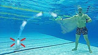 Бутылка воды челлендж под водой - Water bottle flip challenge underwater