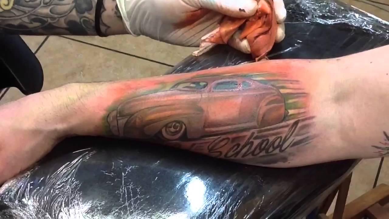 Old School Custom Car Tattoo Final Session Youtube