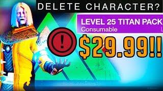 Destiny Titan Pack $29.99 - Deleting Character | Creating New Titan