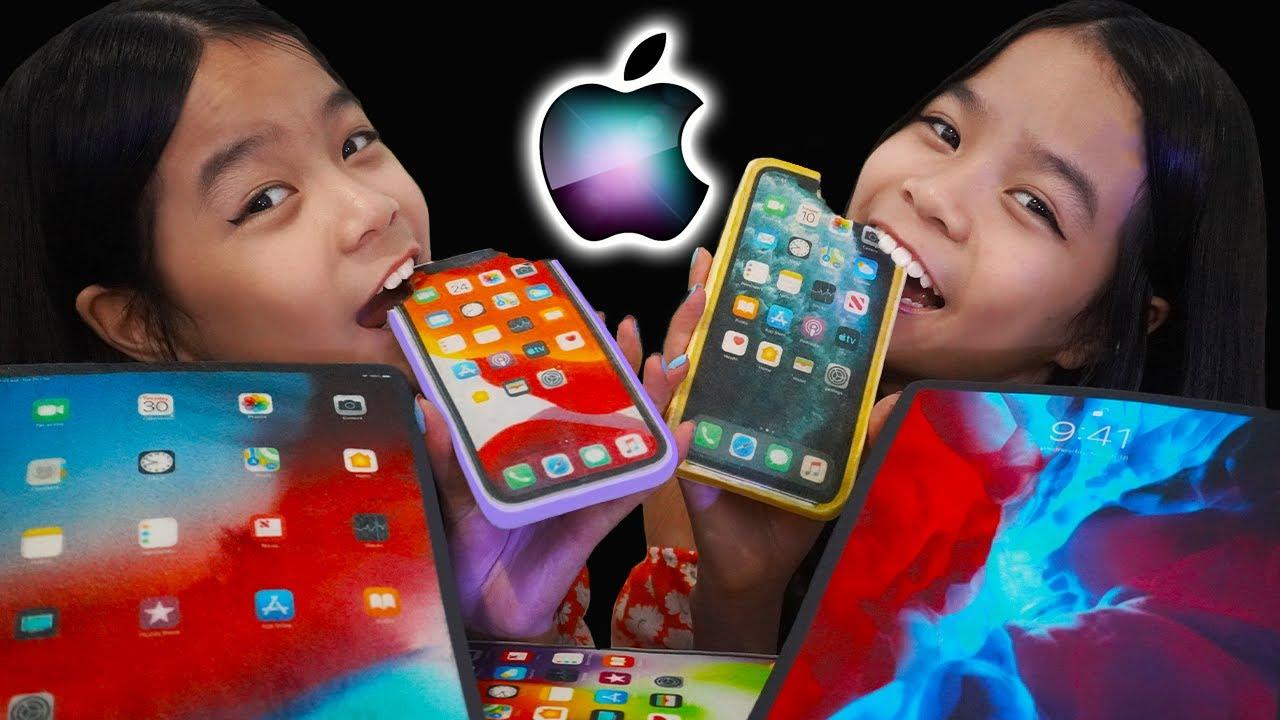 ASMR EDIBLE iPhone 12, iPhone 11, iPad Pro Mukbang 먹방   Tran Twins