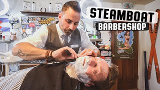 Relaxing wet shave experience including aromatic hot steam towels, facial prep including pre-shave oil, shave cream, followed by hot shaving brush soap, and ...