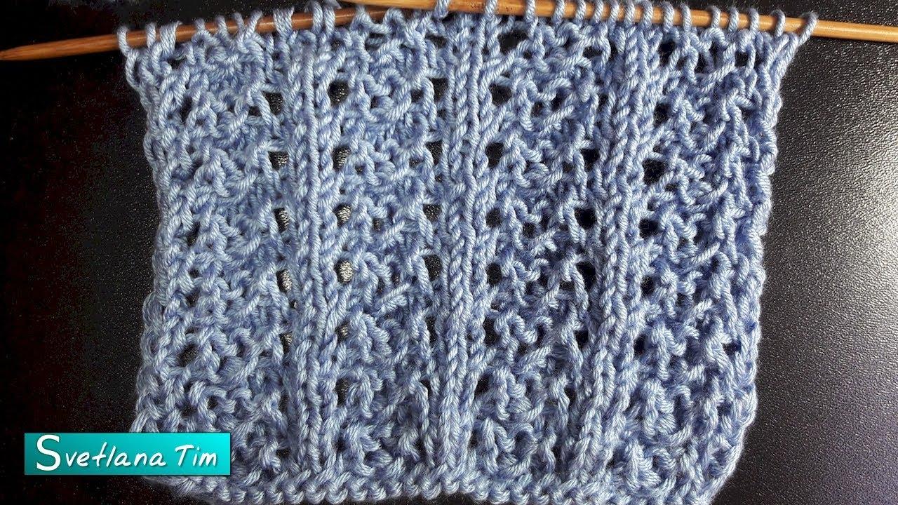 Узоры спицами, схемы. Ажурный узор с вертикальными полосками # 705