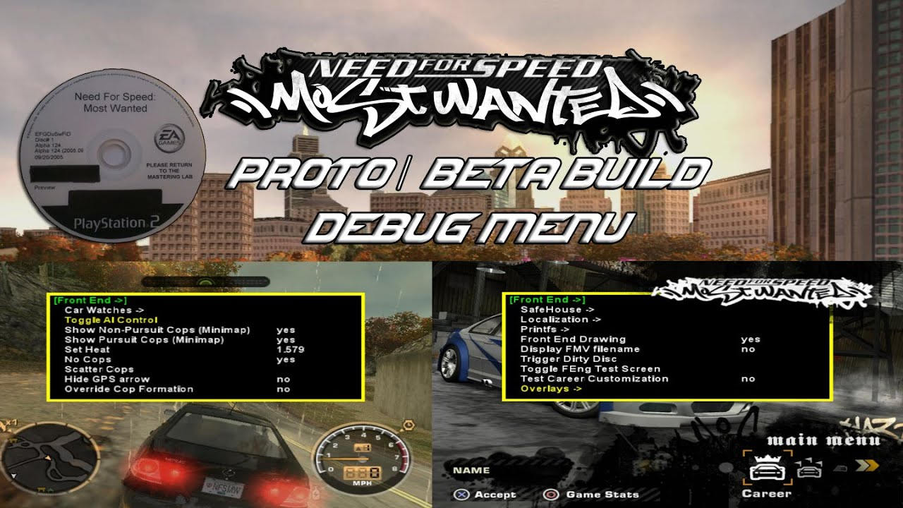 X360 (2005) Need For Speed Most Wanted Beta w/Debug Menu