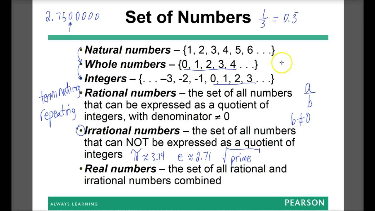worksheet Number Sets identifying sets of numbers within real number set youtube set