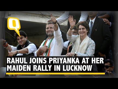 Rahul Gandhi Joins Priyanka Gandhi at Her Maiden Roadshow in Lucknow, UP