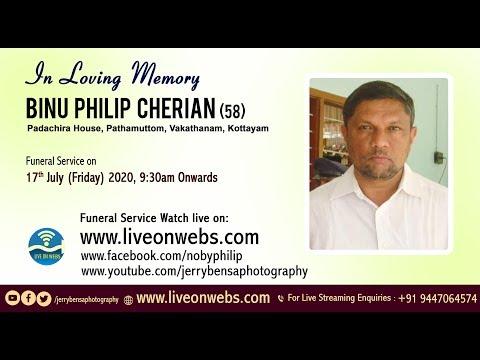 Binu Philip Cherian (58), Padachira House Pathamuttom,  Vakathanam,   Kottayam
