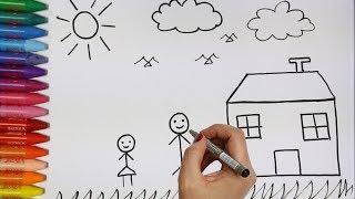 Desenhando e Colorindo Personagens e uma Casa