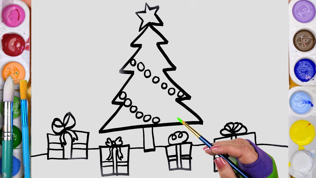 How To Draw And Paint And Christmas Tree Coloring Page For Kids To