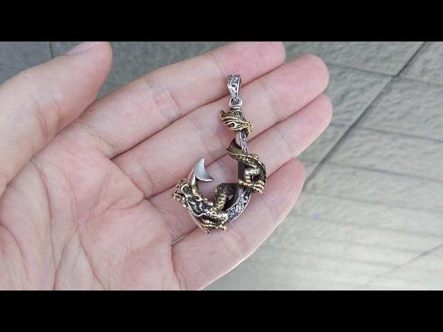 Dragon De Anzuelo sólido de plata 925 Para Hombre Colgante Nuevo Gotico Biker Cadena