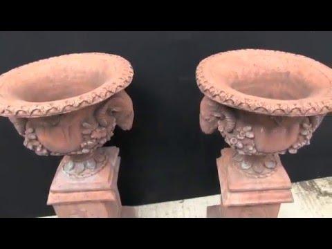 Pair Antique Architectural Terracotta Garden Urns