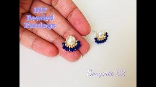 DIY Beaded Stud earrings .How to make earrings.
