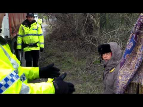 21st Feb 2014 - 15 year old Irlam local arrested whilst holding her grandmothers arm on Barton Moss