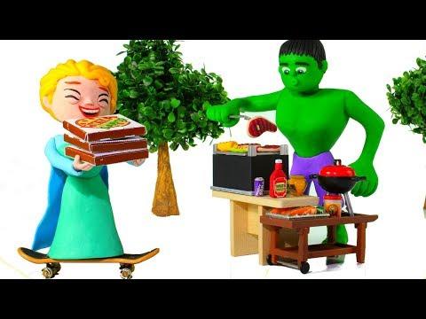 HULK'S BARBECUE ❤ Spiderman, Hulk & Frozen Elsa Play Doh Cartoons For Kids