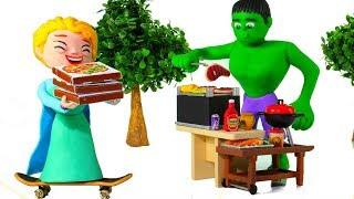 Çocuklar İçin HULK BARBEKÜ ❤ Örümcek Adam, Hulk ve Dondurulmuş Elsa Play Doh Karikatürler