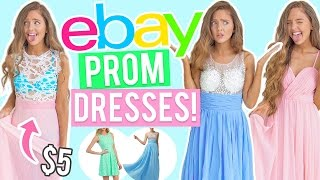 TRYING ON $5 EBAY PROM DRESSES?! Cheap Dresses I Bought Online! ( eBay + Amazon )