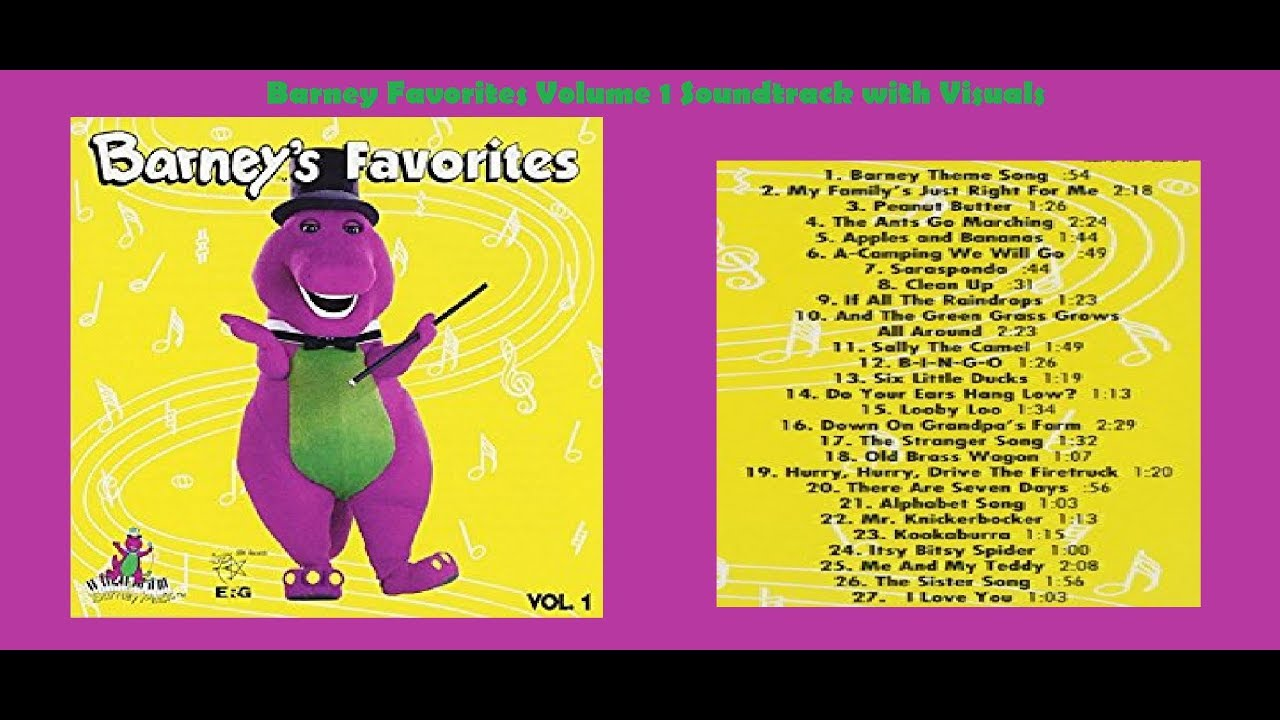 barney favorites vol 1 soundtrack with visuals youtube
