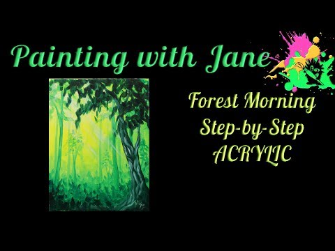 Forest Morning Step by Step Acrylic Painting on Canvas for Beginners