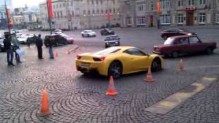 Ferrari 458 italia start up and accelerate in Moscow