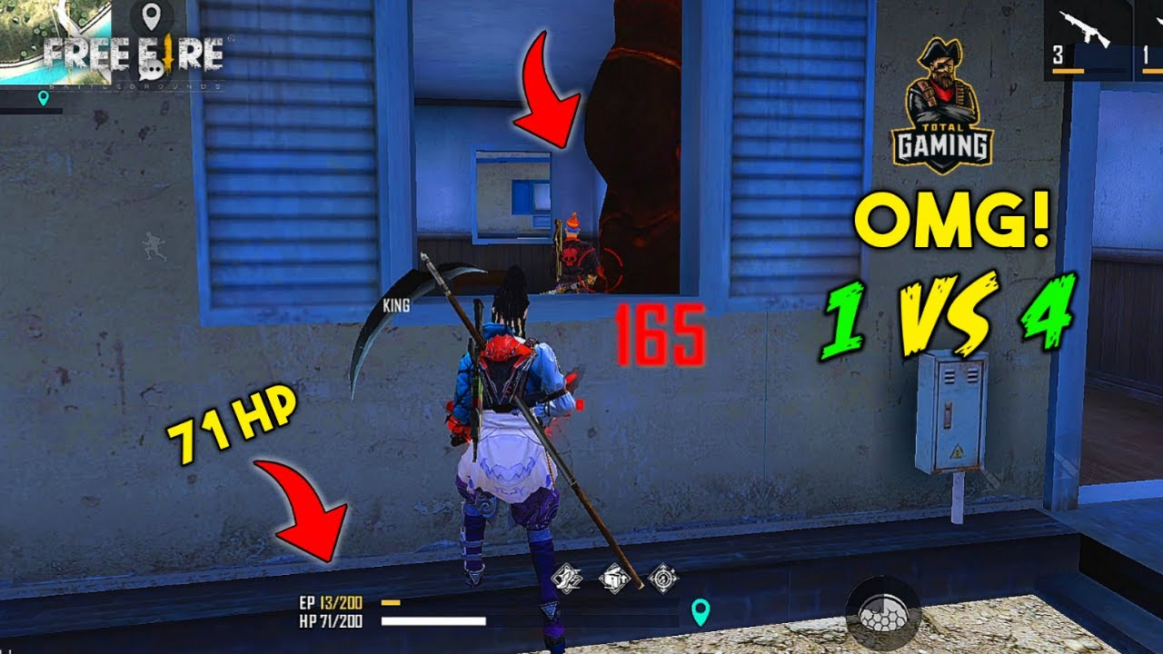 1 vs 4 Unbelievable Insane Clutch Moment Must Watch Gameplay - Garena Free Fire