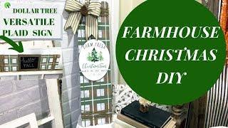FARMHOUSE CHRISTMAS DIY- DOLLAR TREE-VERSATILE PLAID SIGN