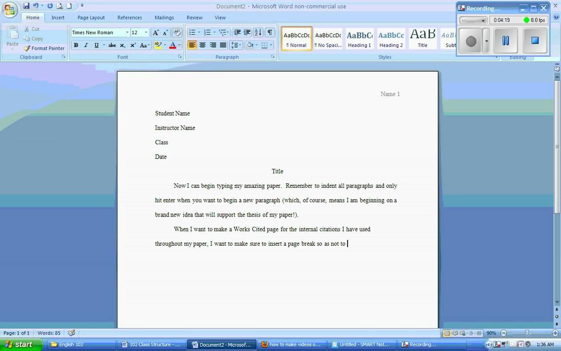 microsoft word 2007 - mla formatting wmv