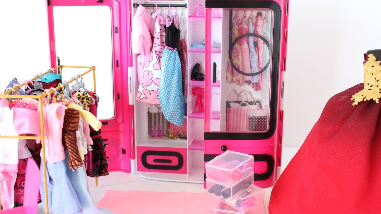 BARBIE PINK WARDROBE CLOSET UNBOXING SET MORE SHOES BOXES/ CLOSET  ORGANISATION.