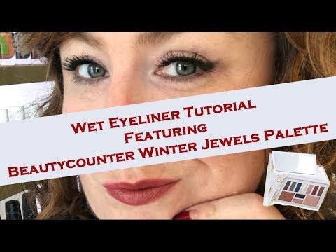 Wet Eyeliner Tutorial Feauting Beautycounter Winter Jewels Palette