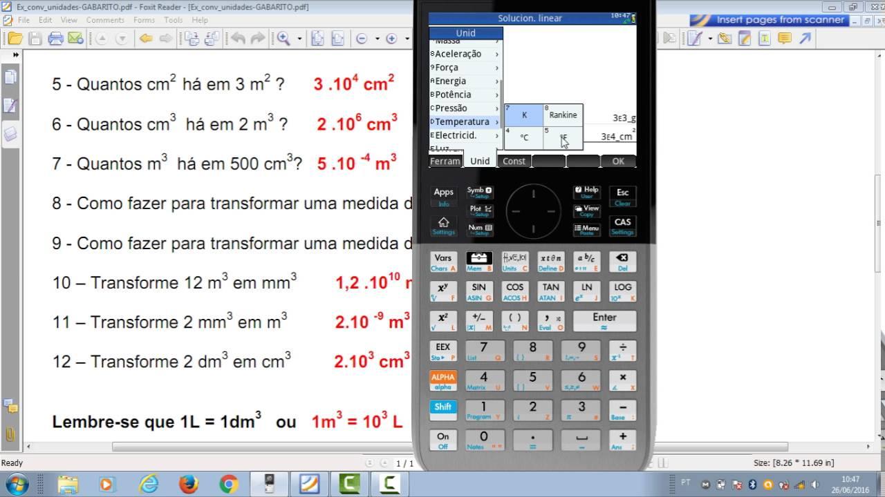 Conversão de Unidades e Notação Cientifica na HP Prime