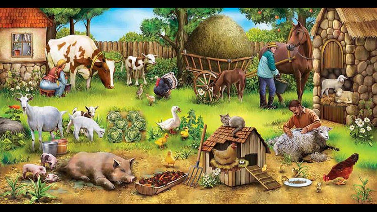 названия картинка скотный двор домашние животные лесной пожар