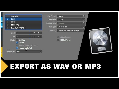 Logic Pro X - How to Export your Track (WAV or MP3)