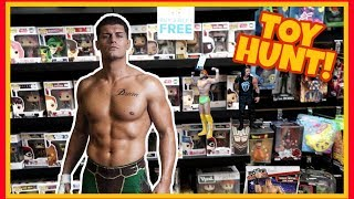 TOY HUNT!!! FINDING WEIRD WWE ITEMS WITH CODY RHODES!!! WWE WRESTLING FIGURE FUN #103