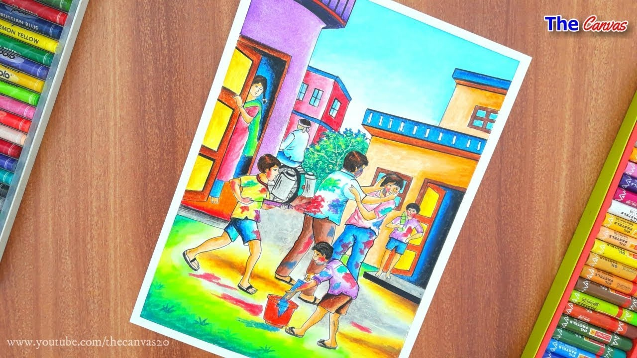Happy Holi Special Drawing Part 1 How To Draw Holi Festival Step By Step For Beginners Youtube