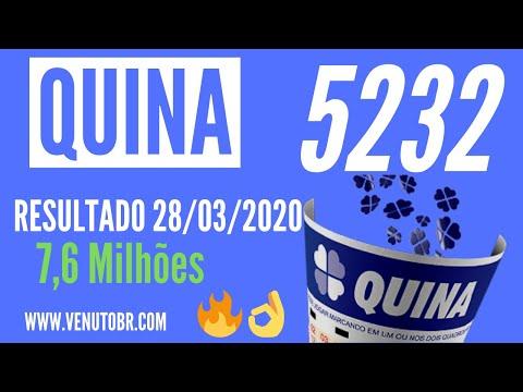 🍀 Resultado Quina 5232, confira a Quina de hoje 28/03