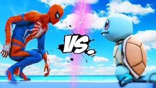 SPIDERMAN VS POKEMON (Squirtle) - Zenigame vs Spider-Man (PS4)