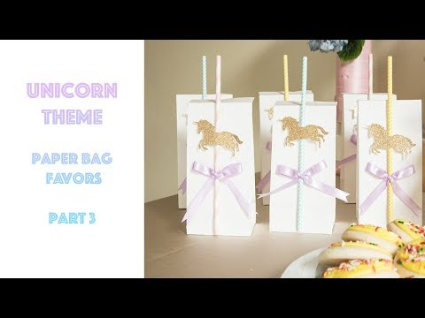 DIY Quick and Easy Unicorn Theme Party Favors: Paper Candy Bag Favors: Part 3