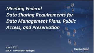 meeting federal research requirements for data management plans public access and preservation