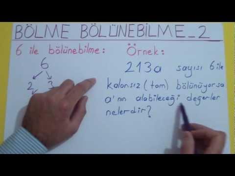 Bölme Bölünebilme 2 Şenol Hoca Matematik