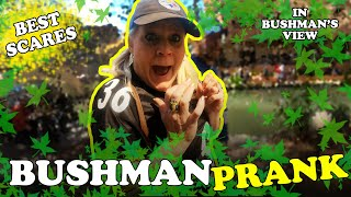 FUNNY VIDEO - BUSHMAN SCARE PRANK - San Antonio Texas - First Person Hidden Camera Prank