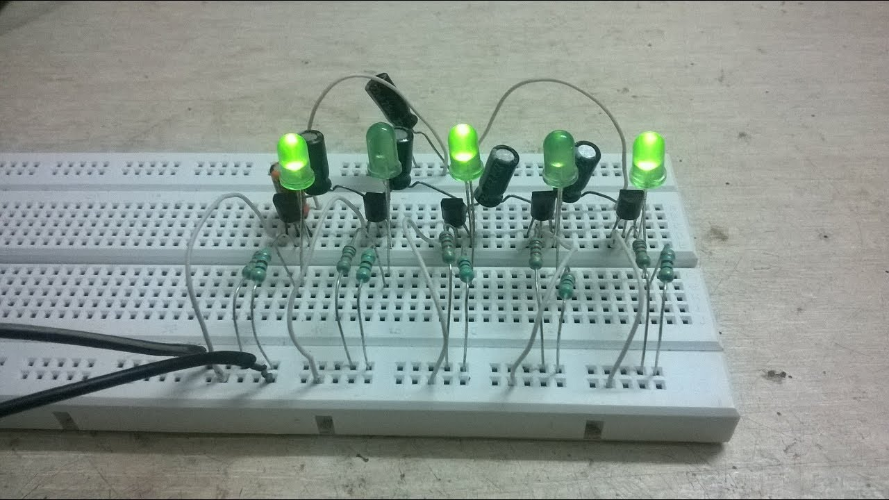 Flip Flop Circuit With 5 Led Using Bc547 Transistors Youtube Relay