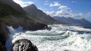 1 hour relaxation video - lazy ocean waves rolling into rocky shore and cliffs - HD 1080P